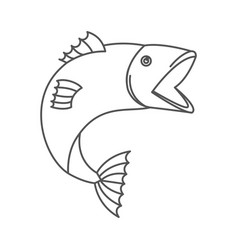 Sketch silhouette of open mouth trout fish vector