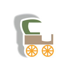 stylish icon in paper sticker style retro carriage vector image vector image