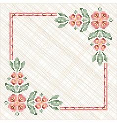 Traditional ukrainian cross-stitch embroidery vector