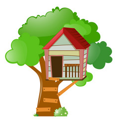 treehouse on big tree vector image