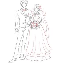 Wedding couple sketch vector