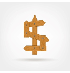 Wooden Boards Dollar Sign vector image