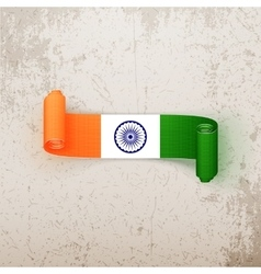 India flag on realistic curved tag vector