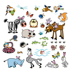 Set of childish wild animals vector