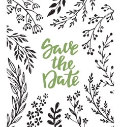 Save the date card with hand drawn branches vector