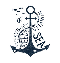 hand drawn label with an anchor and lettering vector image