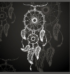 Dreamcatcher feathers and beads vector