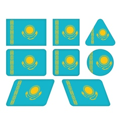 Buttons with flag of kazakhstan vector