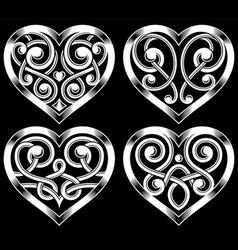 Set of ornate heart shape vector