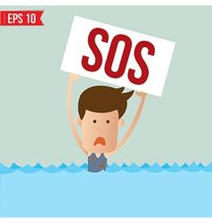 Cartoon business man shouting for help - - E vector image