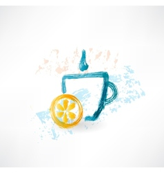 Lemon tea grunge icon vector