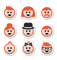 People with ginger hair icons set vector