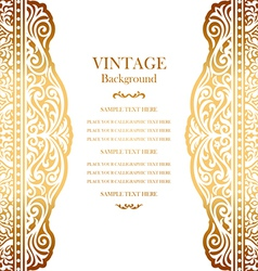 Wedding gold card with lace pattern vector image