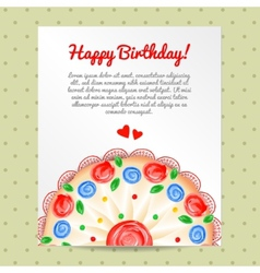 Acrylic holiday background with cake vector