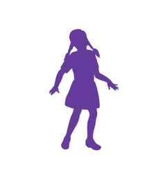 Silhouette of little girl vector