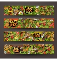 Hand drawn doodles fast food banners design vector