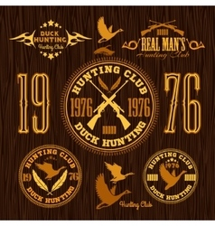 Duck hunting - set for hunting emblem vector