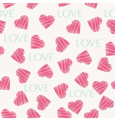 Seamless hearts pattern retro texture red and mint vector