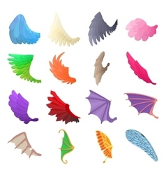 Wing icons set cartoon style vector