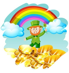 Leprechaun with golden coins and rainbow vector