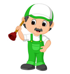 A plumber handyman cartoon character holding a plu vector