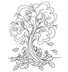 autumn tree coloring vector image vector image