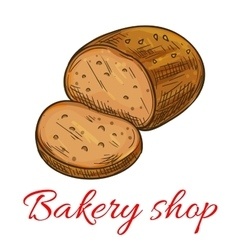 Bakery shop baked wheat and rye bread loaf icon vector image vector image