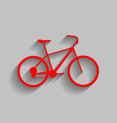 Bicycle bike sign red icon with soft vector