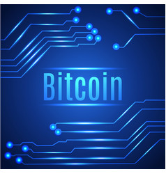 Blue bitcoin digital currency concept on circuit vector