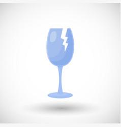 broken wine glass flat icon vector image vector image