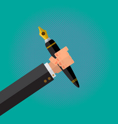 calligraphy pen in a writer male hand vector image vector image