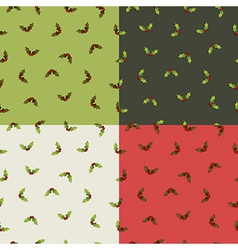 Christmas holly patterns vector
