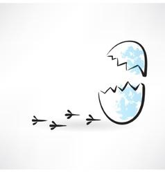 Cracked egg grunge icon vector