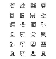 Database and server line icons 3 vector