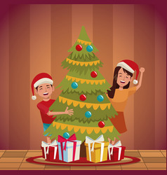 family christmas cartoon vector image