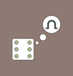 Flat icon design collection dice and horseshoe vector