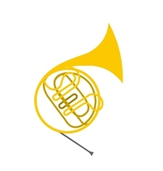 French horn flat icon vector image vector image