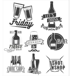 Friday is time to drink set of weekend vector image