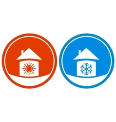 icons with sun and snowflake on house vector image vector image