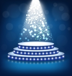 Illuminated Festive Stage Podium with Lamps on vector image