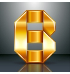 Letter metal gold ribbon - B vector image