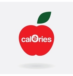 logo icon zero calories a stylized apple vector image