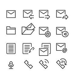 mail and call icon line vector image vector image