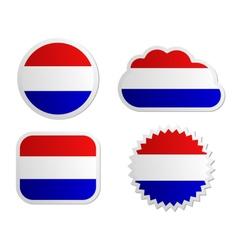 Netherlands flag labels vector image vector image