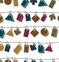 Sale tags on a rope seamless background icon set vector image
