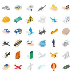 Satellite icons set isometric style vector