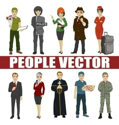 Set of diverse people various professionsective vector