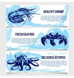 Set of vintage seafood banners vector
