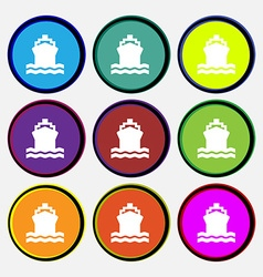 ship icon sign Nine multi colored round buttons vector image