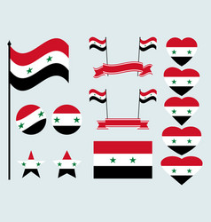 Syrian flag set collection of symbols flag vector